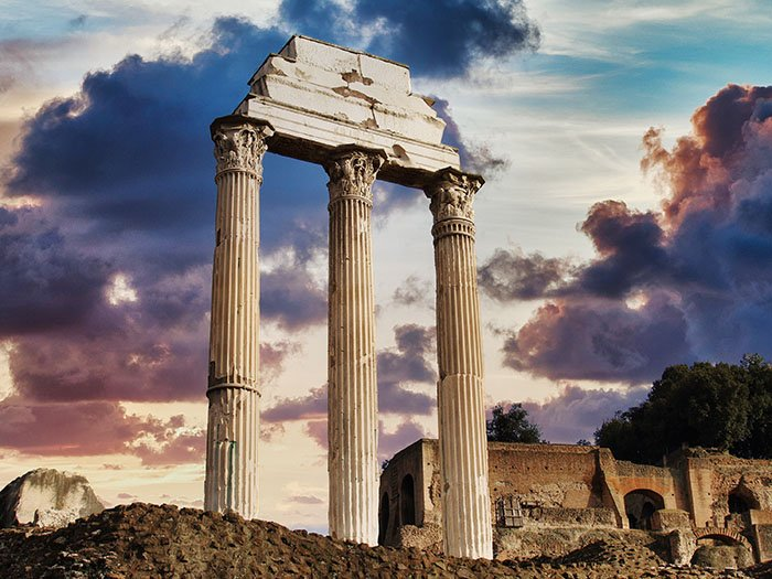 Three pillars of a ruin that have stood the test of time
